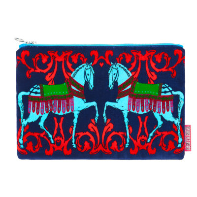 Blue Horses large velvet clutch