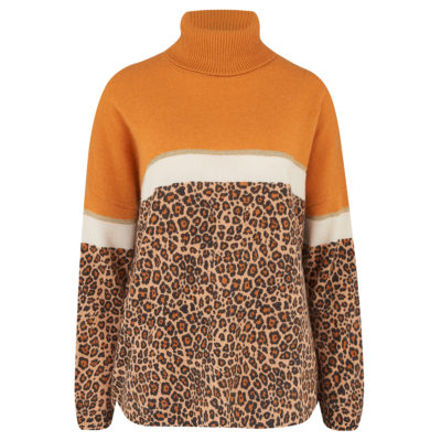 Leopard Orange Cashmere Jumper