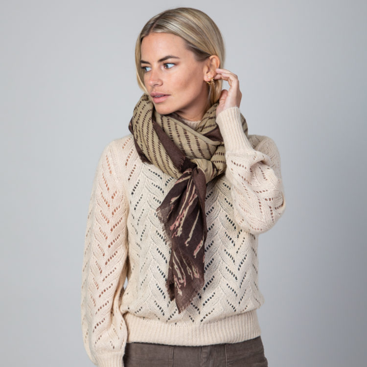 Chocolate Dotted Lines scarf