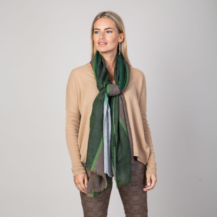 khaki tweed wool scarf