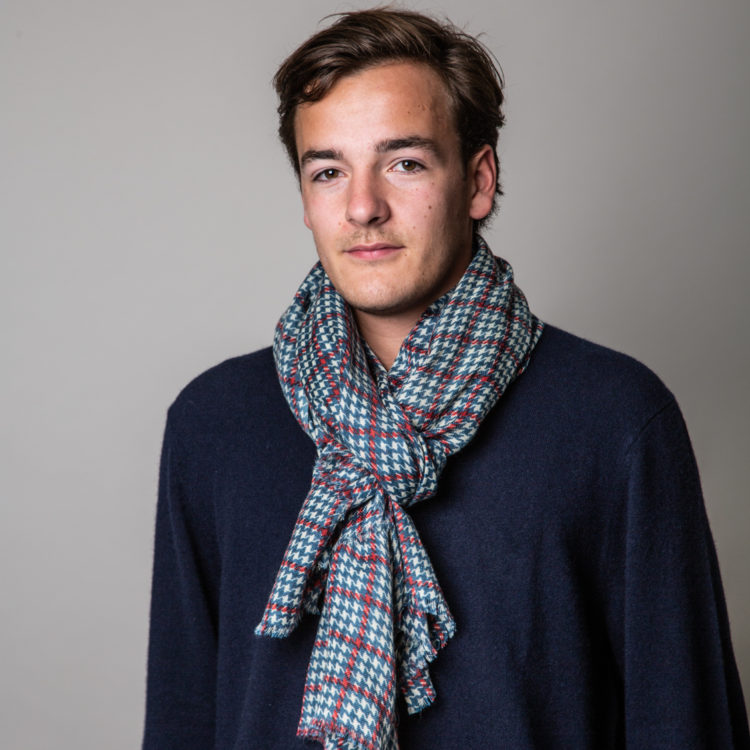 mens dogtooth check scarf