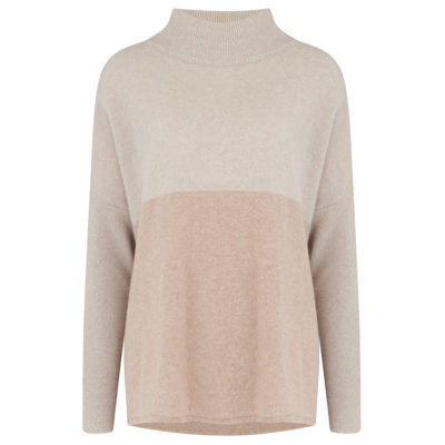 neutral colour block jumper