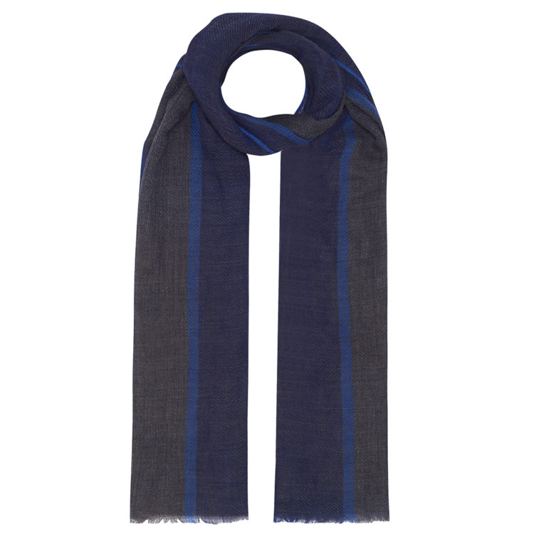 Blue Tweed Wool Scarf