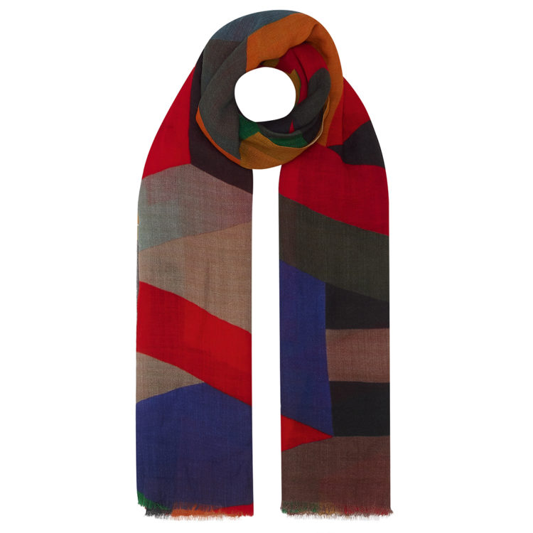 Colour block wool scarf