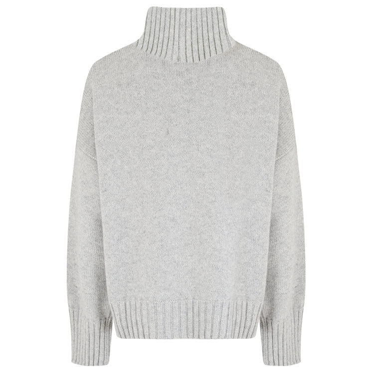 Pale grey chunky turtleneck back
