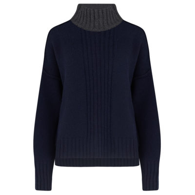 Navy Charcoal Chunky Turtleneck jumper