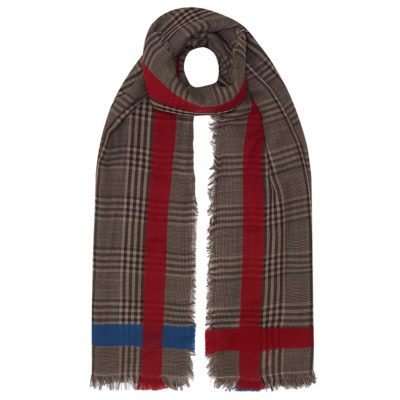 neutral check scarf