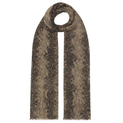 neutral snake wool scarf