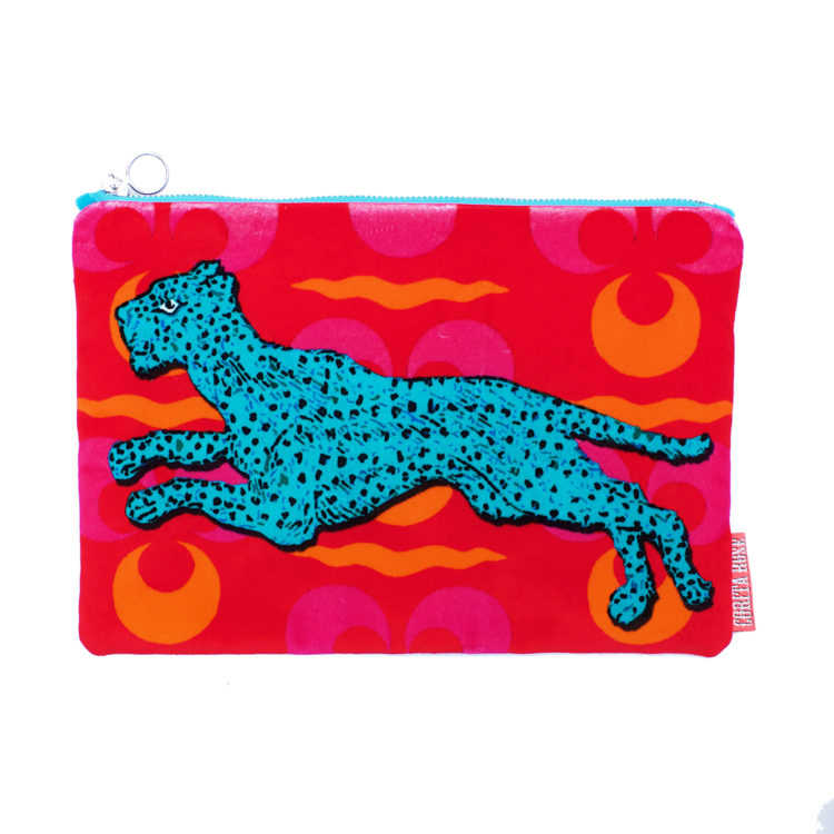 Running Panther Small Velvet Clutch