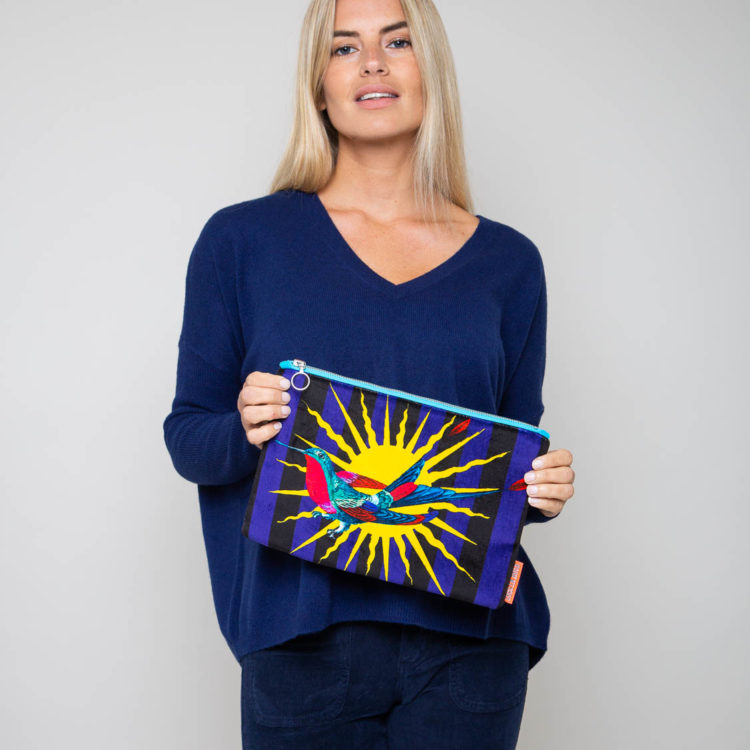 sun stripes large velvet clutch
