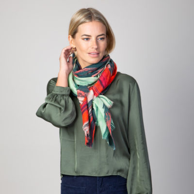 Green and pink paint mix scarf