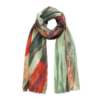 Green and pink pain mix swirl scarf