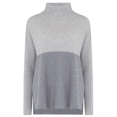 Grey colour block jumper front