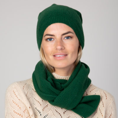 Emerald Cashmere Wool Scarf and Hat