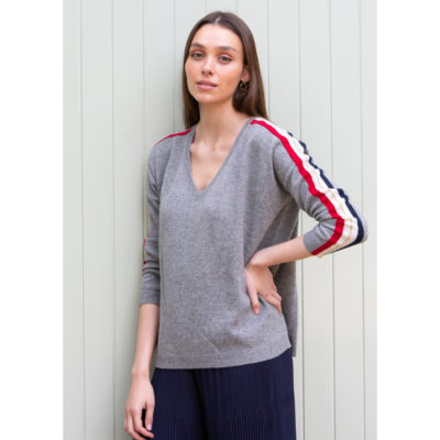 Multi band cashmere jumper