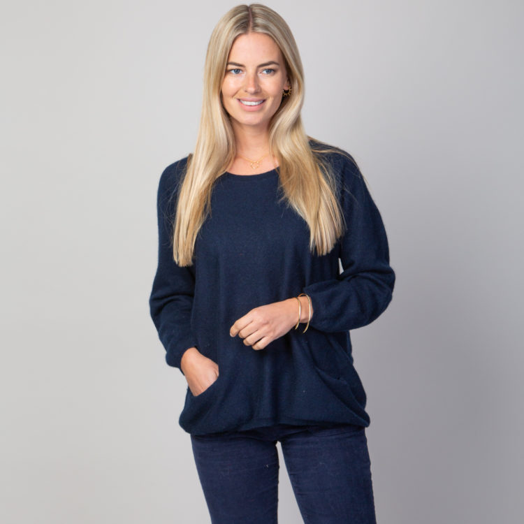 navy two pocket cashmere mix jumper