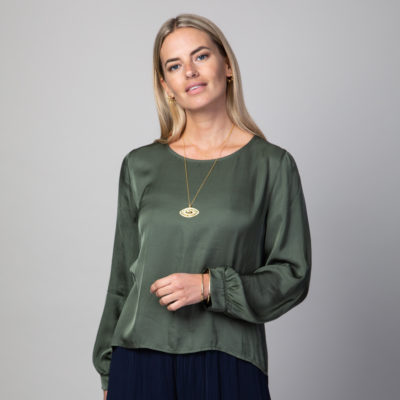 Khaki collarless blouse