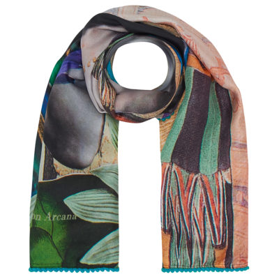 Green Lotus silk scarf