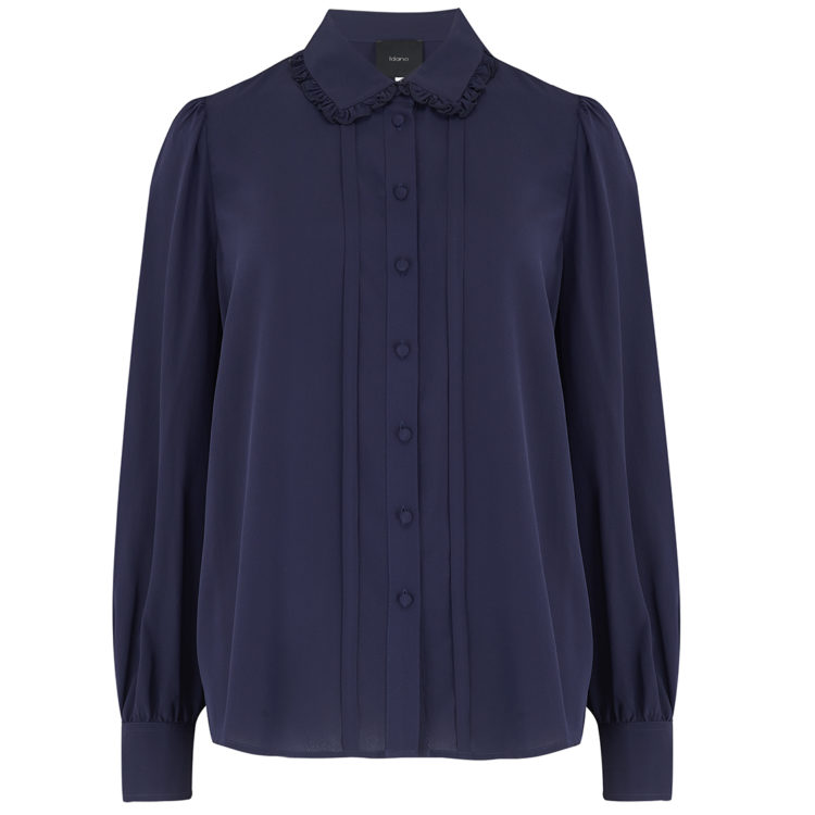 navy waliyah silk shirt
