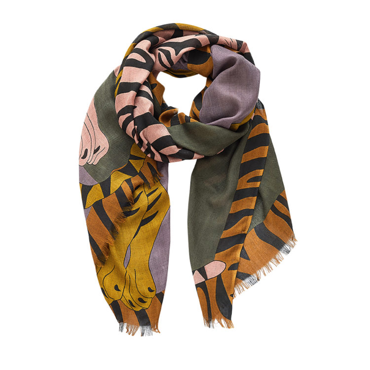 Two tigers cashmere mix scarf