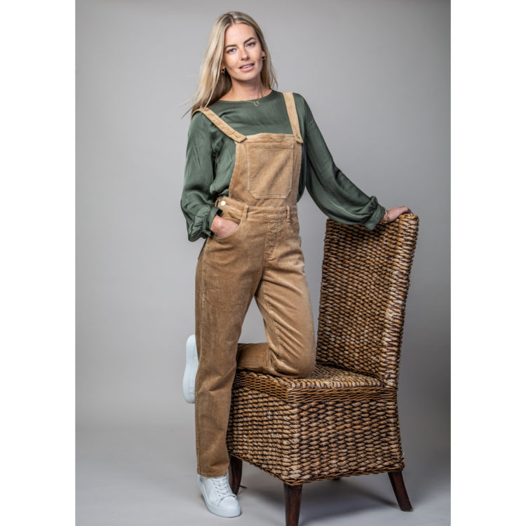 Beige cord dungarees