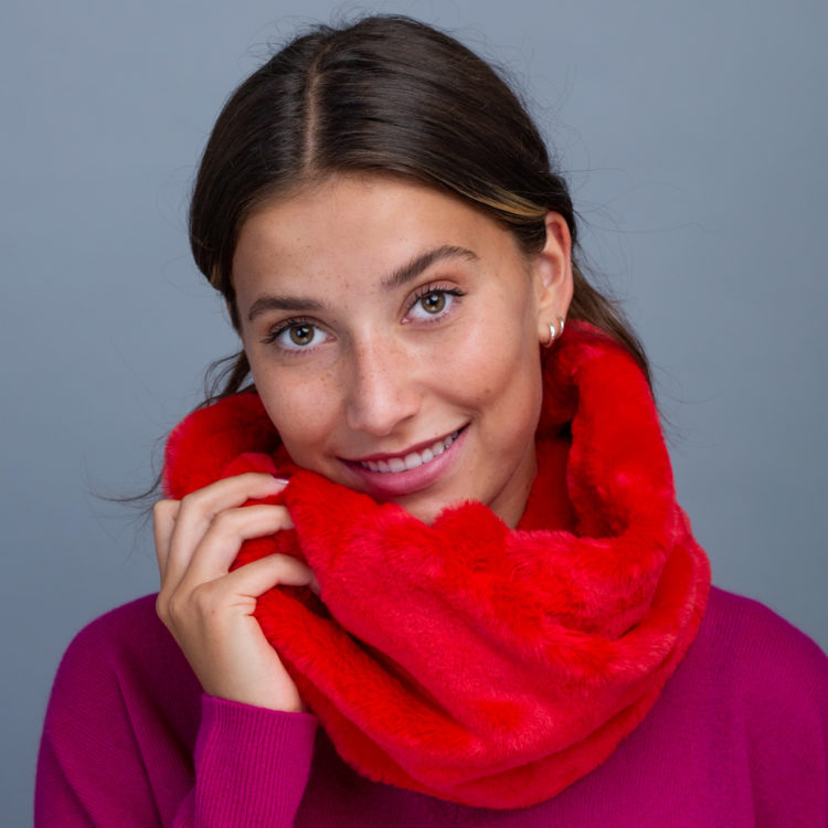 red faux fur snood
