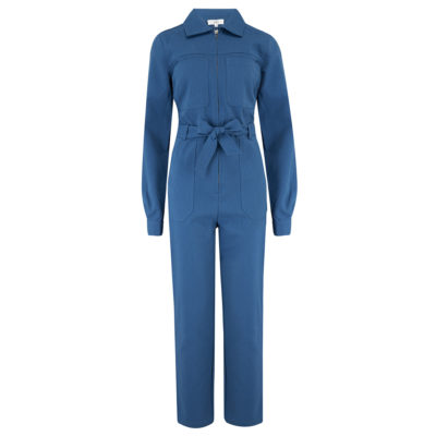 Blue twill jumpsuit front