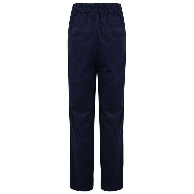 navy needlecord trousers back