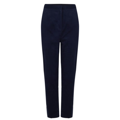 Navy needlecord trousers front