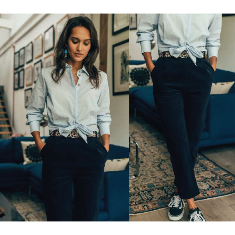 navy needlecord trousers