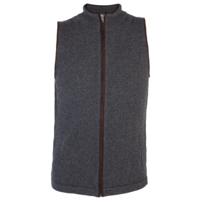 Charcoal cashmere wool gilet front