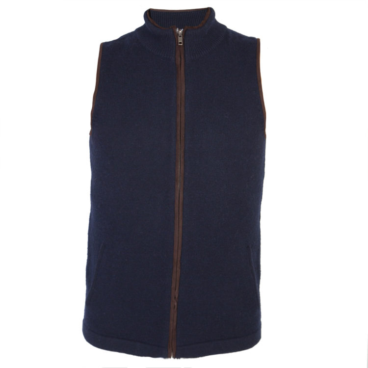 mens navy cashmere wool gilet