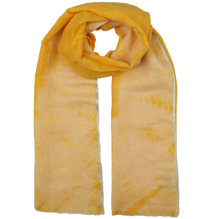 Yellow Tie dyed linen scarf