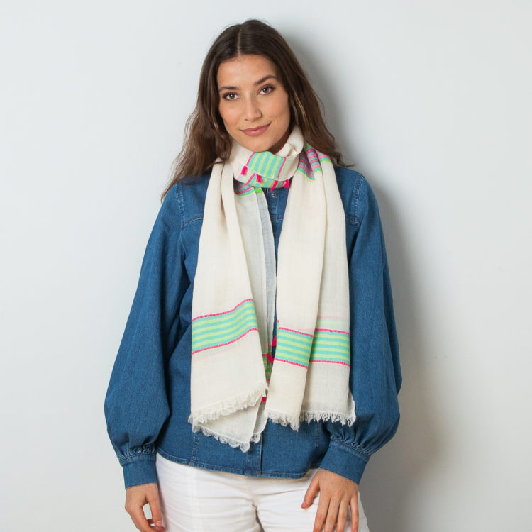Ivory striped pashmina
