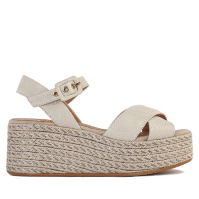 Neutral Snakeskin Wedge