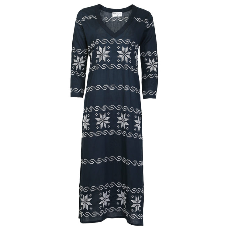 Arabella Embroidered Navy Dress