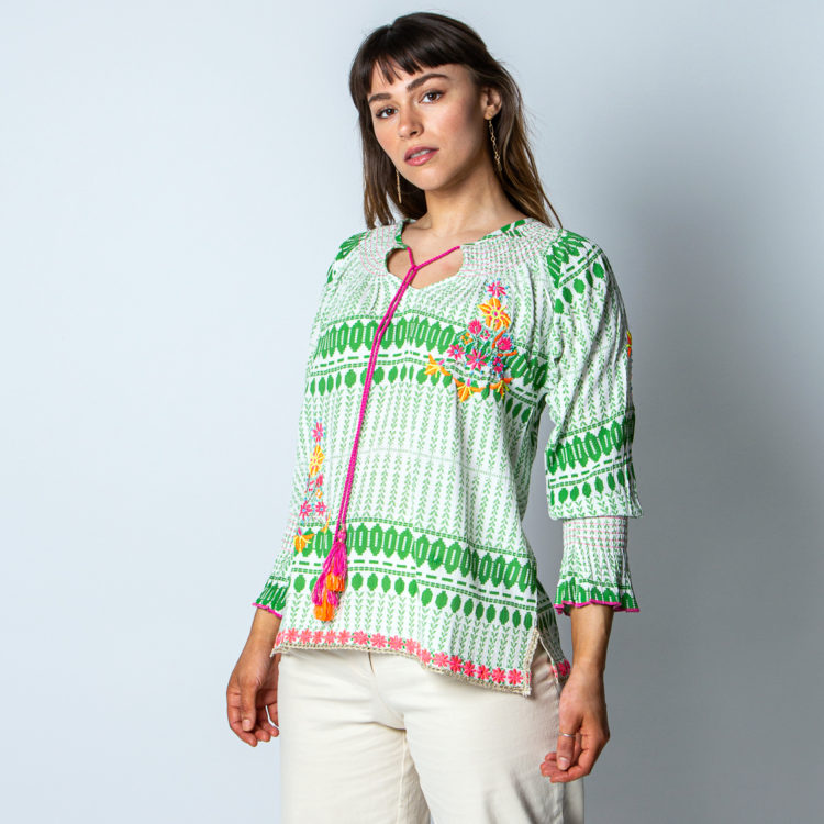 Emerald embroidered shirt
