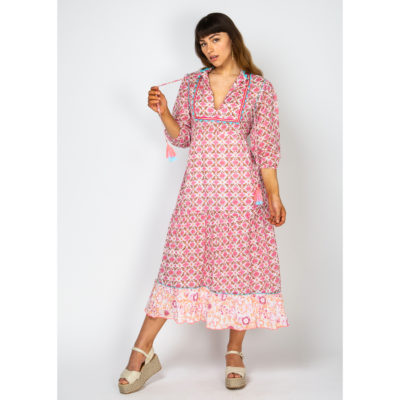 rosa flower long dress