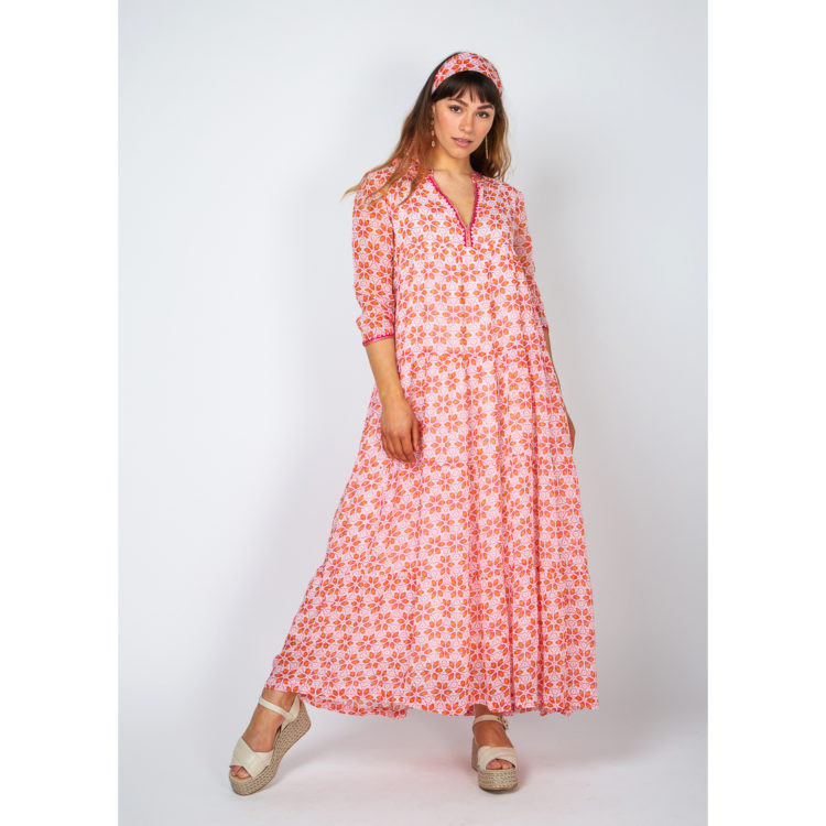 rosa peach long dress