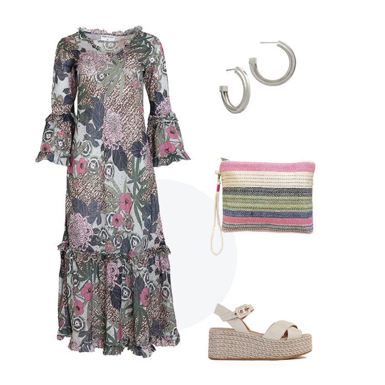 With its wonderful ruffled sleeves and beautiful frilled skirt, this elegant printed dress looks just as good dressed down with trainers (as demonstrated by Willa above) and a denim jacket, as it does with heeled sandals and a pretty clutch for a more dressed up approach.