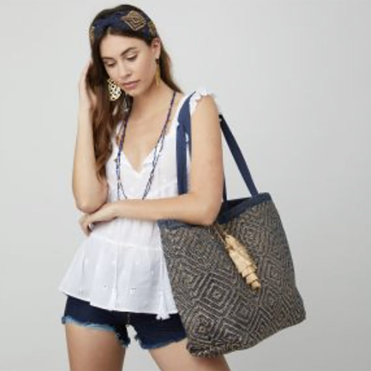Navy and Gold Metallic Tote