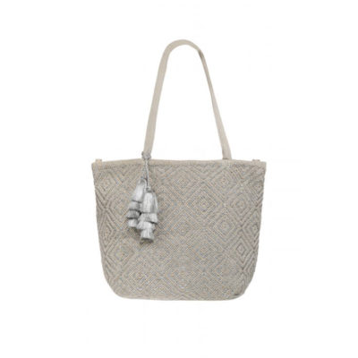 Neutral and Silver Metallic Tote