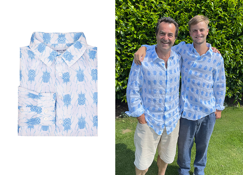Blue Beetle Linen Shirt by Pink House Mustique