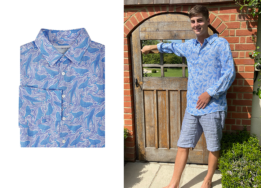 Blue Whale Linen Shirt by Pink House Mustique