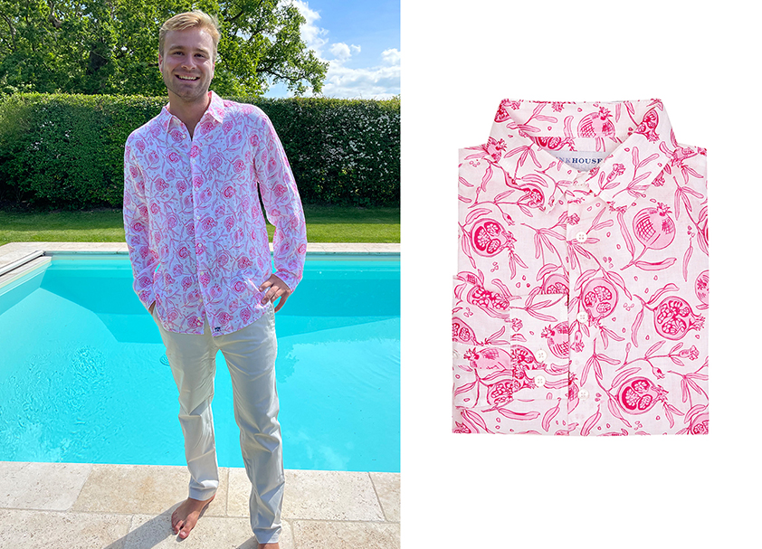 Pink Pomegranate Linen Shirt by Pink House Mustique