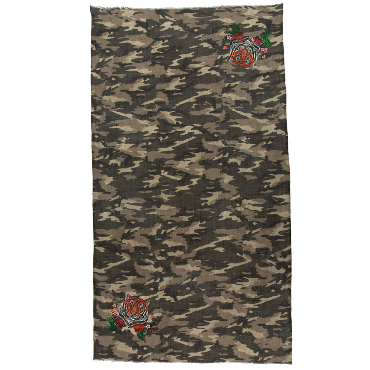 Camouflaged Decorated Wool Scarf