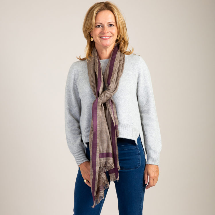 Taupe Check Wool Scarf