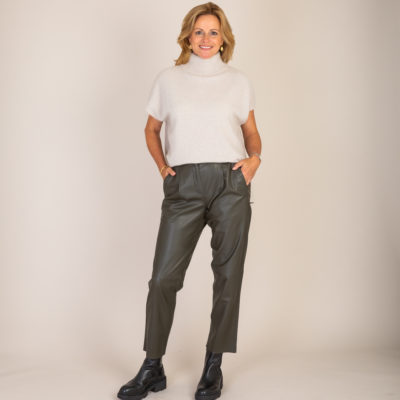 Olive Leather Trousers
