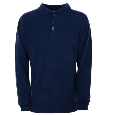 Navy Cashmere Polo Jumper