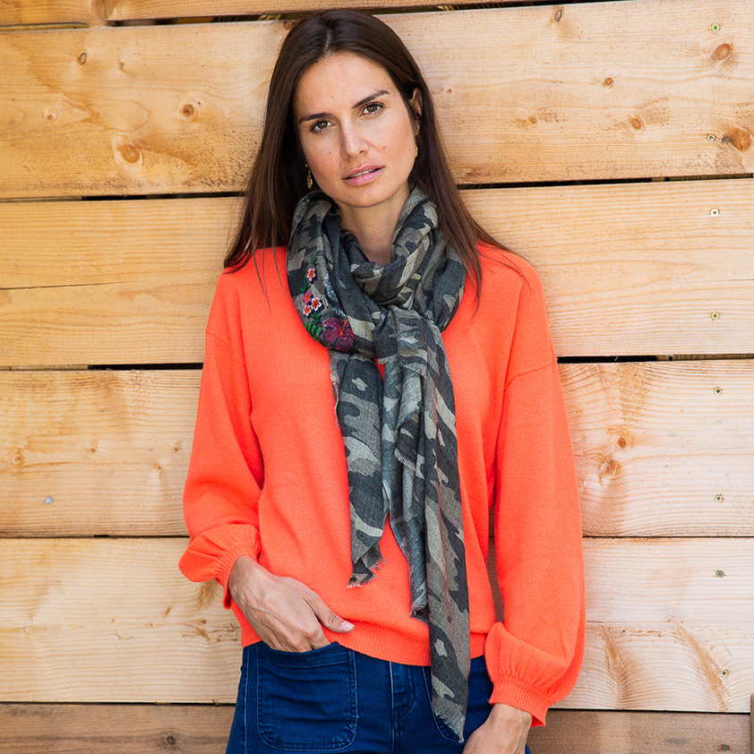 Camouflage Decorated Wool Scarf by Cleverly Wrapped